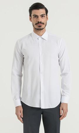 Beyaz Slim Fit Gömlek - Thumbnail