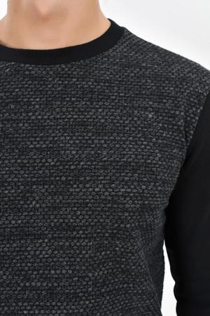 Siyah Bisiklet Yaka Sweatshirt - Thumbnail