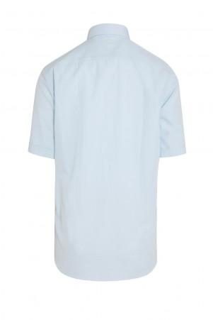 Mavi Kısa Kol Desenli Gömlek - Thumbnail