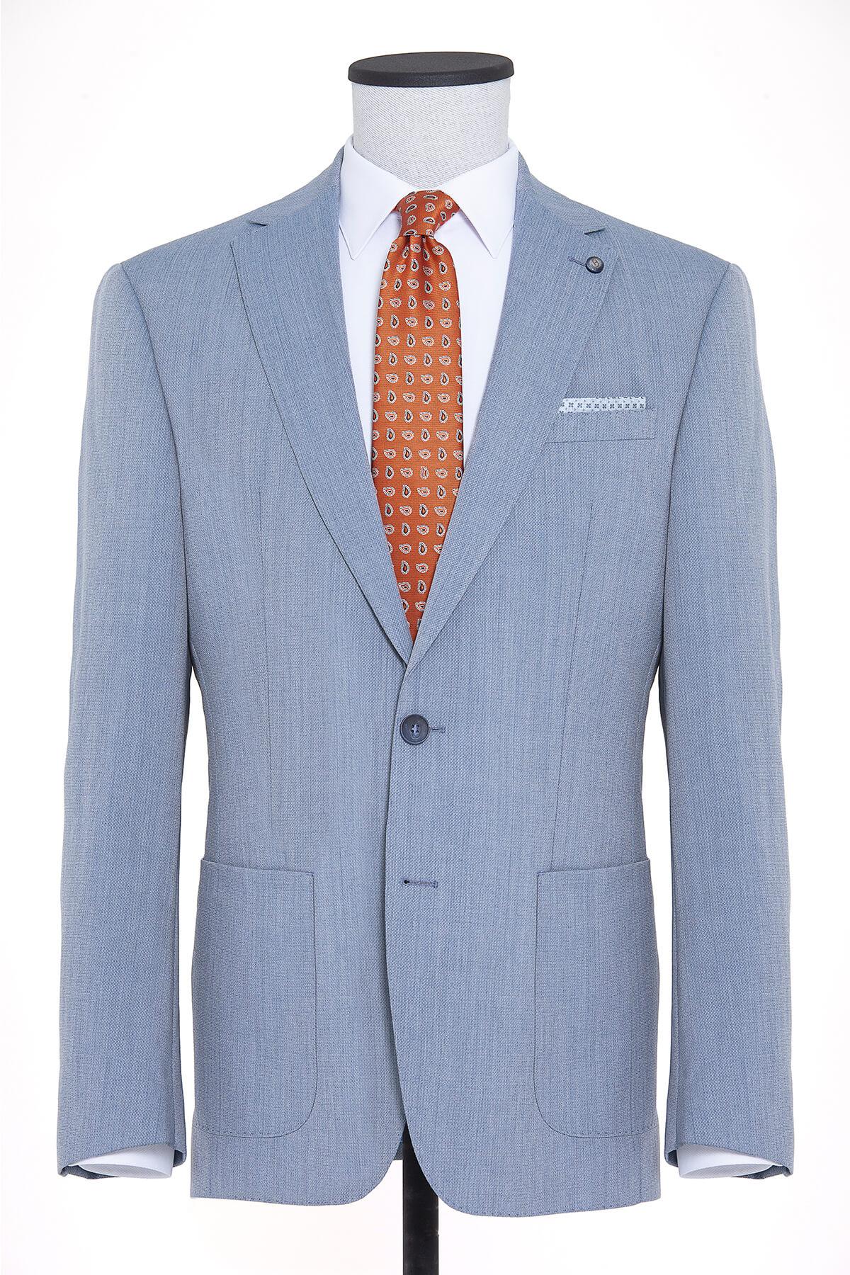 Mavi Desenli Slim Fit Ceket