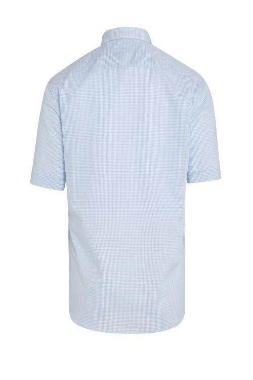Mavi Kareli Kısa Kol Klasik Gömlek