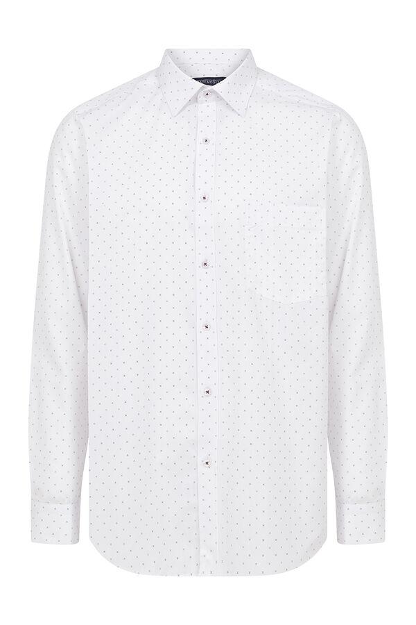 Beyaz Bordo Desenli Klasik Gömlek