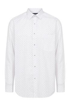 Beyaz Bordo Desenli Klasik Gömlek - Thumbnail