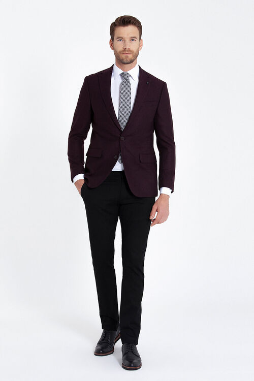 Bordo Balıksırtı Desenli Slim Fit Ceket