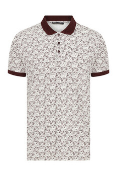 Bordo Baskılı Polo Yaka Tişört - Thumbnail