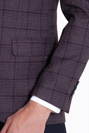 Bordo Kareli Yelekli Kombin Takım Elbise - Thumbnail