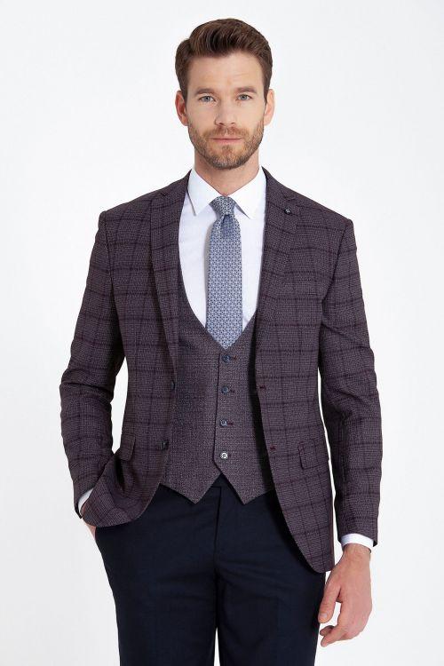 Bordo Kareli Yelekli Kombin Takım Elbise