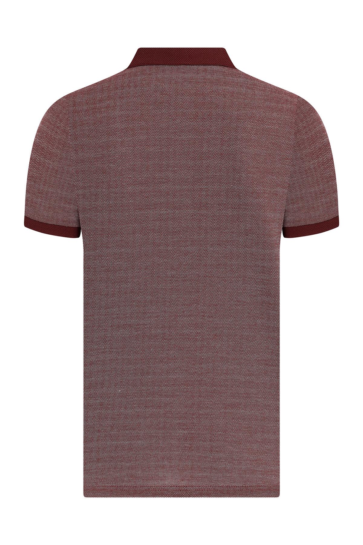 Bordo Desenli Polo Yaka Tişört