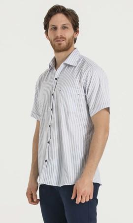 Çizgili Regular Lacivert Gömlek - Thumbnail