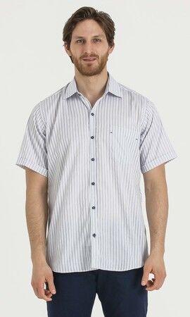 Çizgili Regular Lacivert Gömlek