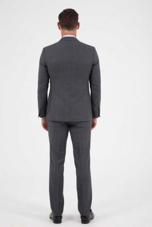 Çizgili Slim Fit Gri Yün Takım Elbise - Thumbnail