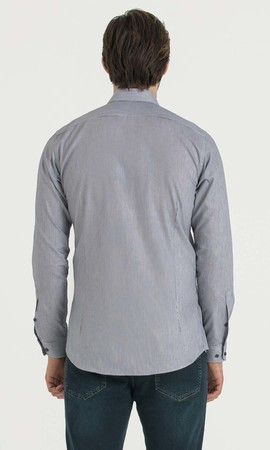 Çizgili Slim Fit Lacivert Gömlek - Thumbnail