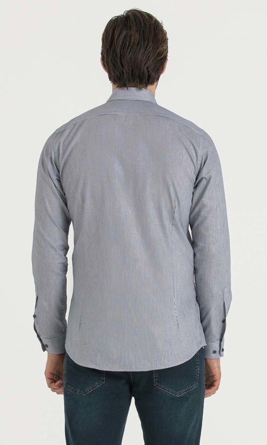 Çizgili Slim Fit Lacivert Gömlek