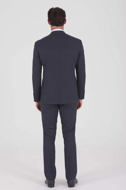 Lacivert Çizgili Slim Fit Takım Elbise