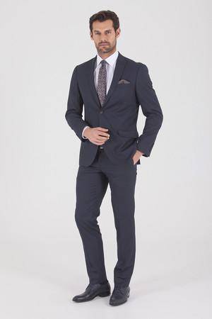 Lacivert Çizgili Slim Fit Takım Elbise - Thumbnail