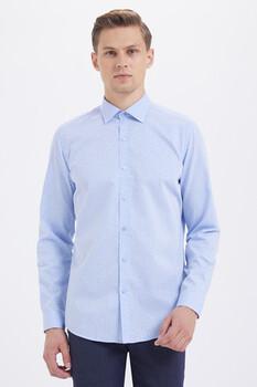 Çizgili Slim Fit Mavi Gömlek - Thumbnail