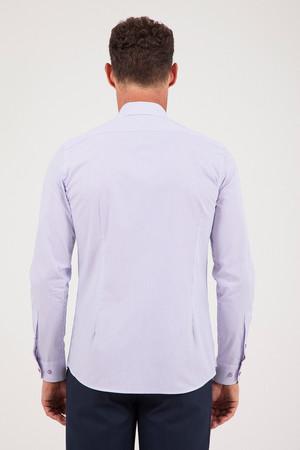 Çizgili Slim Fit Mor Gömlek - Thumbnail