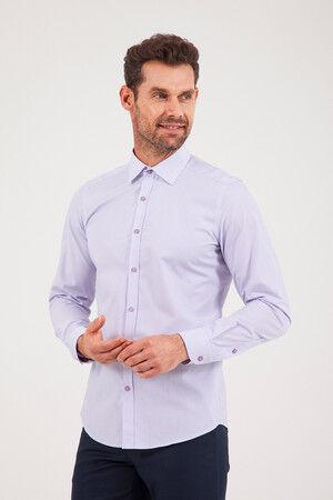 Çizgili Slim Fit Mor Gömlek