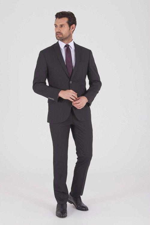 Siyah Çizgili Slim Fit Takım Elbise