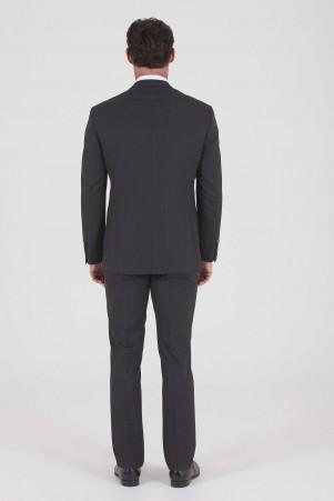 Siyah Çizgili Slim Fit Takım Elbise - Thumbnail