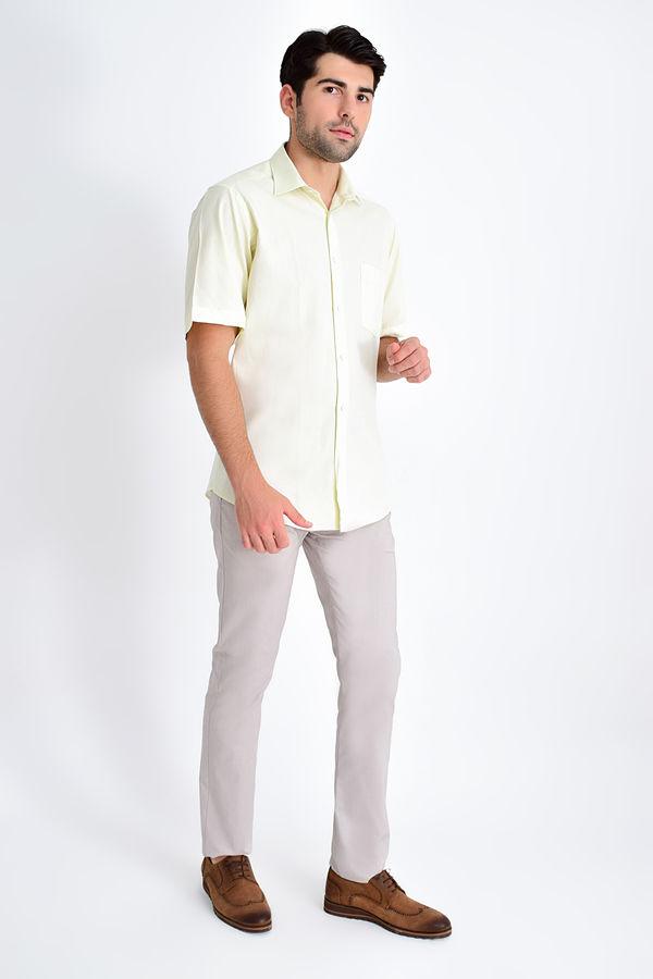 Desenli Klasik Bej Gömlek