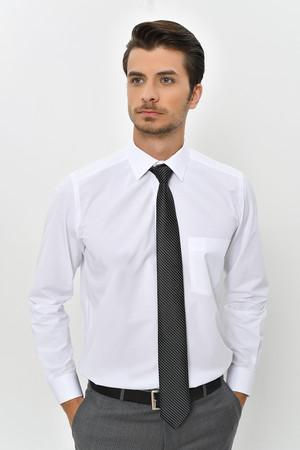 Desenli Klasik Beyaz Gömlek - Thumbnail
