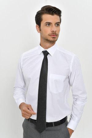 Desenli Klasik Beyaz Gömlek
