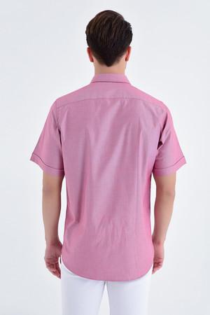 Desenli Klasik Bordo Gömlek - Thumbnail