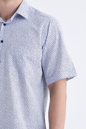 Kısa Kol Lacivert Desenli Klasik Gömlek - Thumbnail