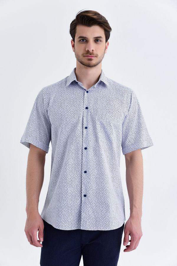 Kısa Kol Lacivert Desenli Klasik Gömlek