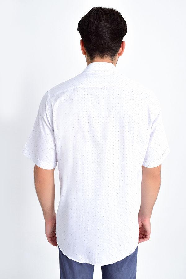 Desenli Klasik Lacivert Gömlek