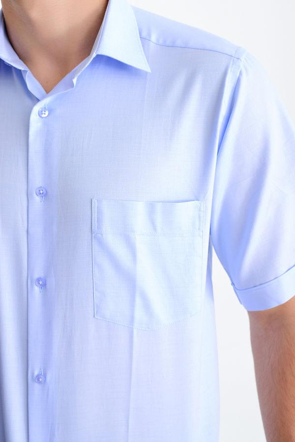 Desenli Klasik Mavi Gömlek