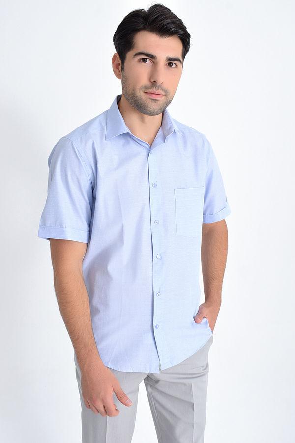 Kısa Kol Mavi Desenli Regular Fit Gömlek