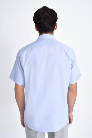 Kısa Kol Mavi Desenli Regular Fit Gömlek - Thumbnail