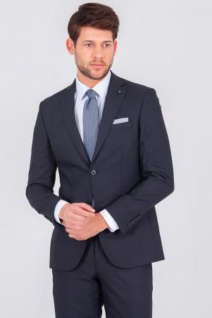 Desenli Lacivert Slim Fit Takım Elbise - Thumbnail