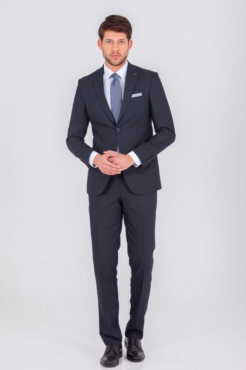 Desenli Lacivert Slim Fit Takım Elbise