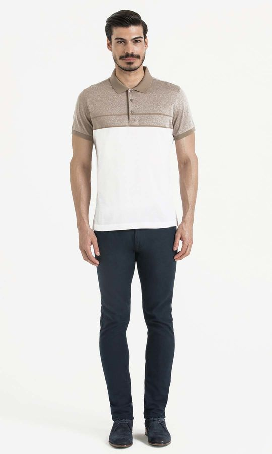 Bej Blok Desenli Polo Yaka Tişört