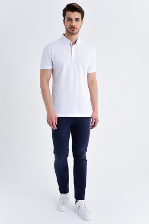 Desenli Polo Yaka Beyaz T-shirt - Thumbnail
