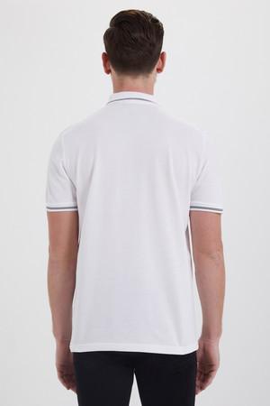 Beyaz Polo Yaka Desenli Tişört - Thumbnail