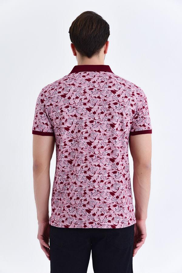 Siyah Çiçek Desenli Polo Yaka Tişört