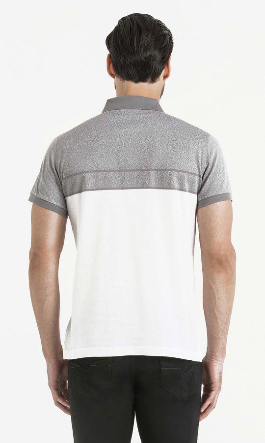 Gri Blok Desenli Polo Yaka Tişört