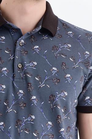 Gri Baskılı Polo Yaka Tişört - Thumbnail