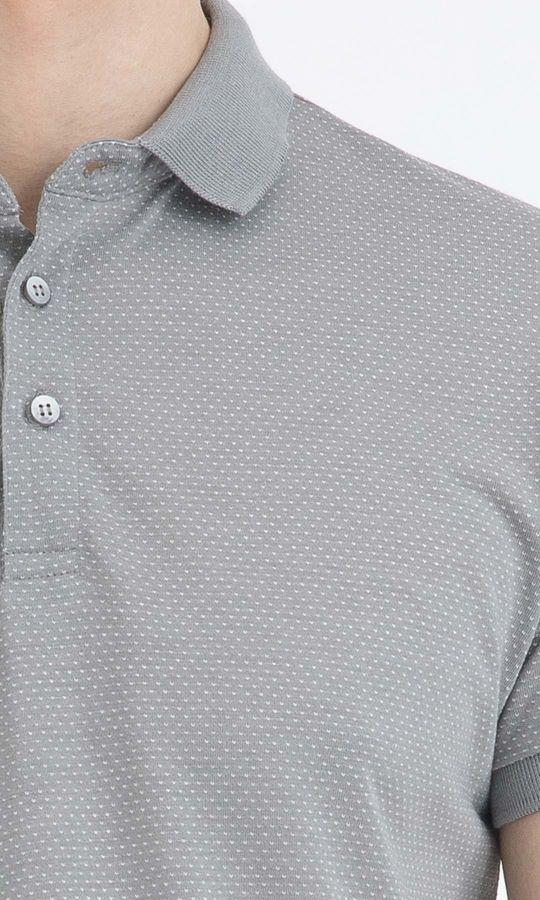 Gri Desenli Polo Yaka Basic Tişört
