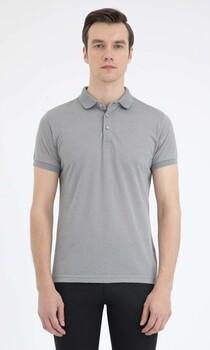 Gri Desenli Polo Yaka Basic Tişört - Thumbnail