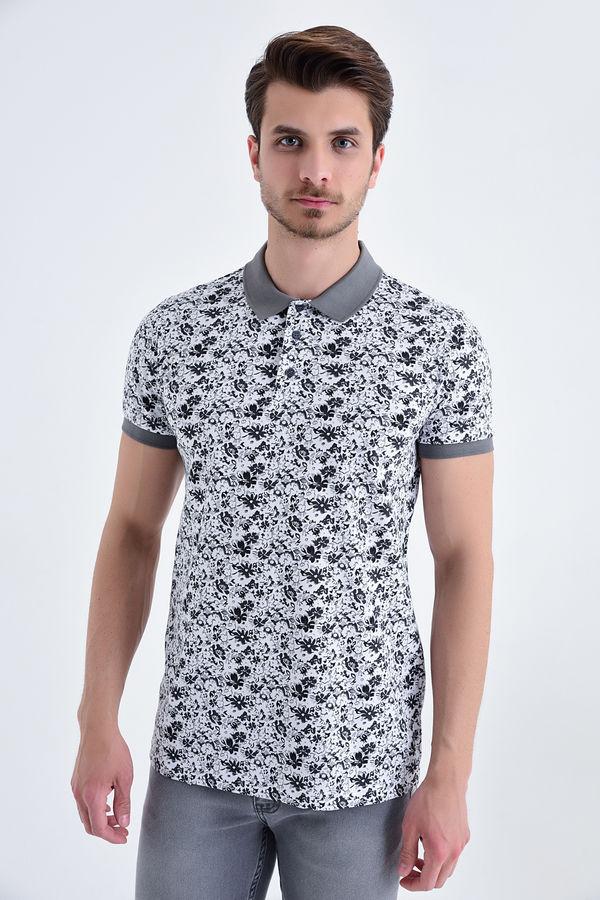 Gri Çiçek Desenli Polo Yaka Tişört