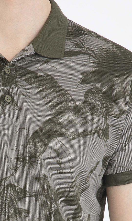 Haki Büyük Desenli Polo Yaka Tişört