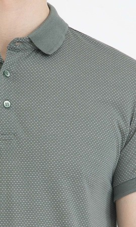 Haki Desenli Polo Yaka Basic Tişört - Thumbnail