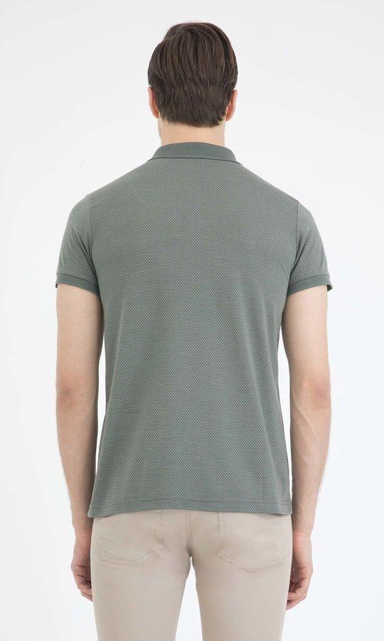 Haki Desenli Polo Yaka Basic Tişört