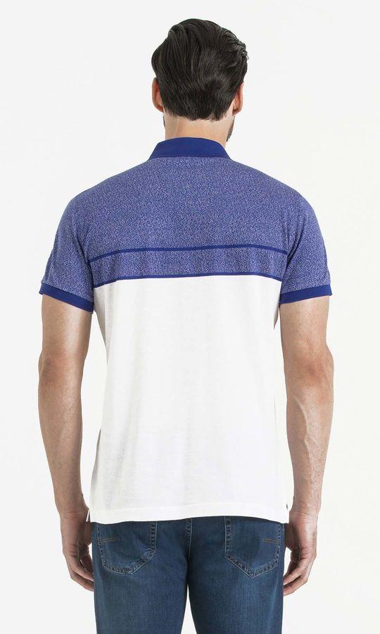 Mavi Blok Desenli Polo Yaka Tişört