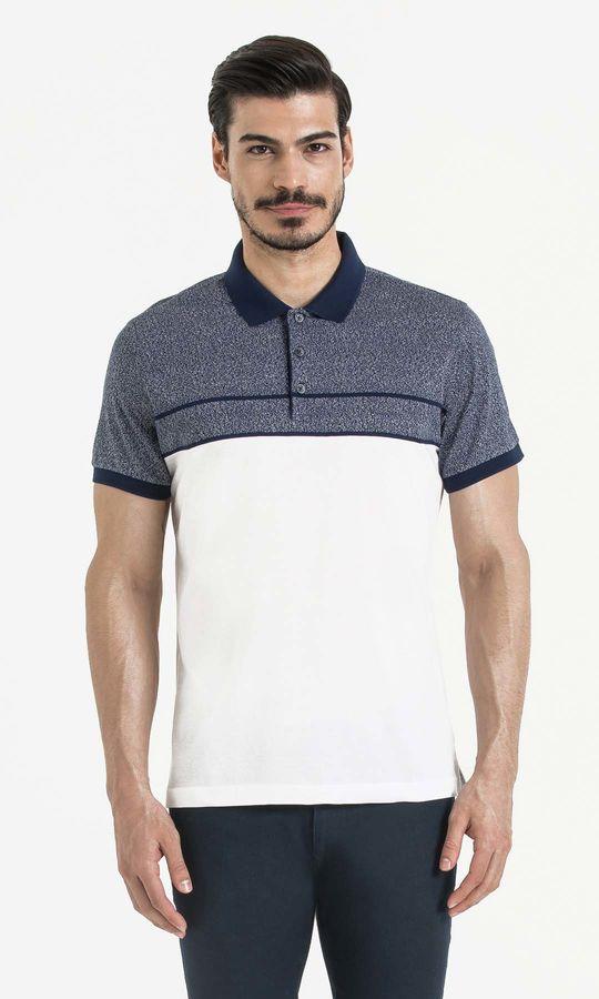 Lacivert Blok Desenli Polo Yaka Tişört